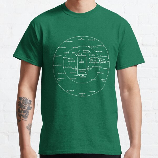 CRICKET PITCH POSITIONS- Fielding Positions Diagram Classic T-Shirt