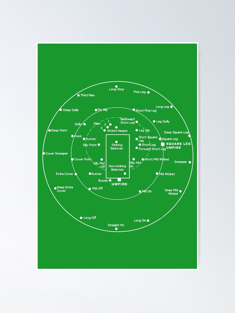 Alternate view of CRICKET PITCH POSITIONS- Fielding Positions Diagram Poster