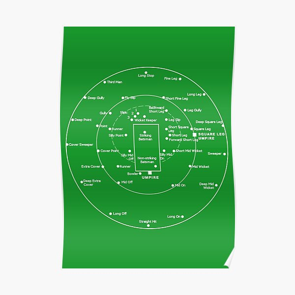 CRICKET PITCH POSITIONS- Fielding Positions Diagram Poster