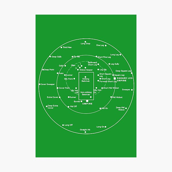 CRICKET PITCH POSITIONS- Fielding Positions Diagram Photographic Print