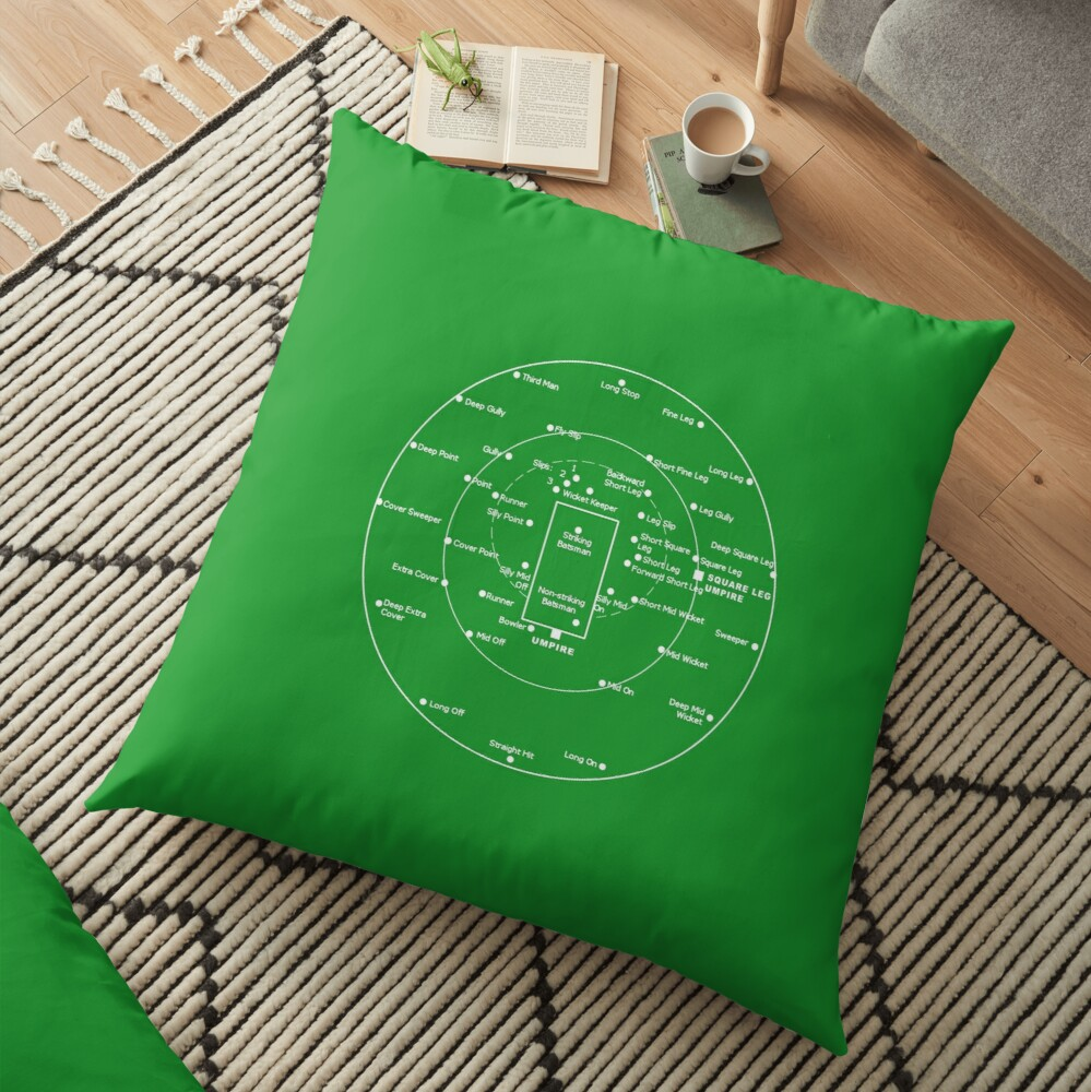 CRICKET PITCH POSITIONS- Fielding Positions Diagram Floor Pillow