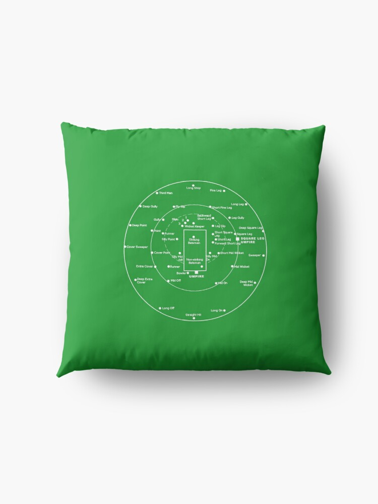 Alternate view of CRICKET PITCH POSITIONS- Fielding Positions Diagram Floor Pillow