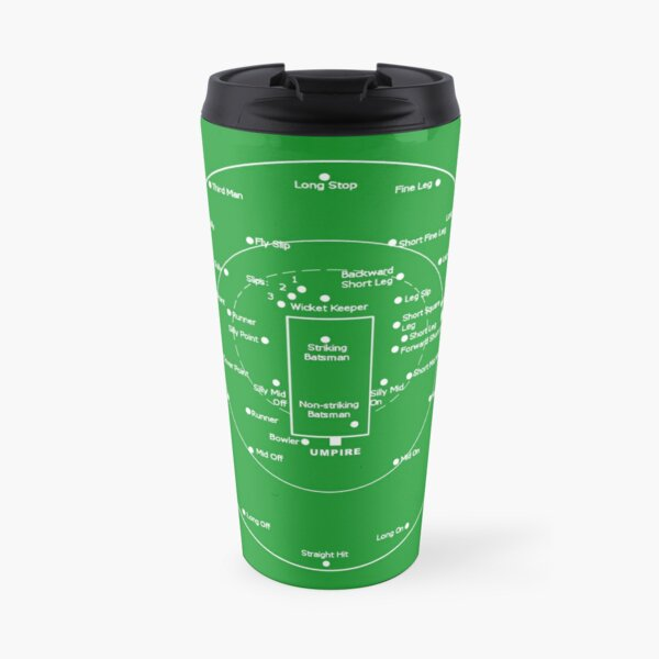 CRICKET PITCH POSITIONS- Fielding Positions Diagram Travel Mug