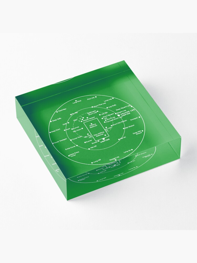 Alternate view of CRICKET PITCH POSITIONS- Fielding Positions Diagram Acrylic Block