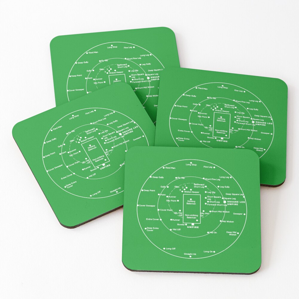 CRICKET PITCH POSITIONS- Fielding Positions Diagram Coasters (Set of 4)