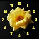 Yellow Rose On Black Yellow Fat Numbers Wall Clock by Alan Harman