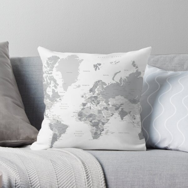 Gray world map with cities, states, countries Throw Pillow