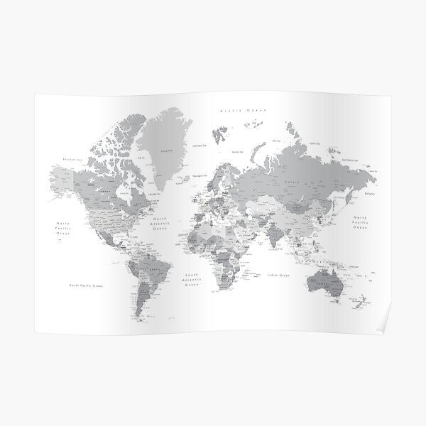 Gray world map with cities, states, countries Poster
