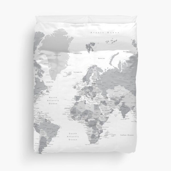 Gray world map with cities, states, countries Duvet Cover