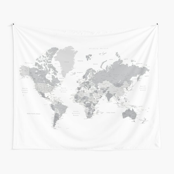 Gray world map with cities, states, countries Tapestry