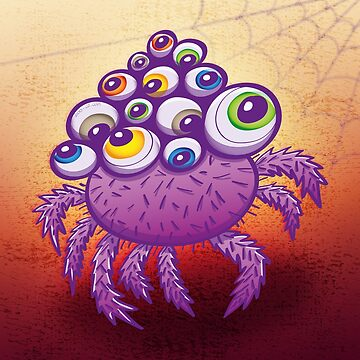 Monstrous multi-eyed purple spider by Zoo-co