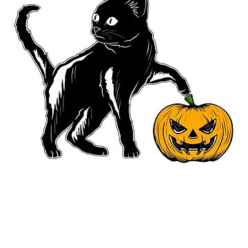 Pumpkin Face Cat Halloween Costume T-Shirt  by carlosa98
