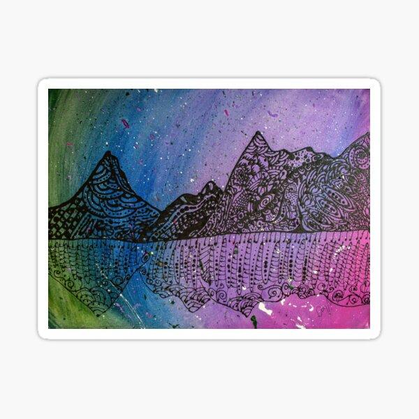Zen Tangle Mountains in Galaxy Sticker