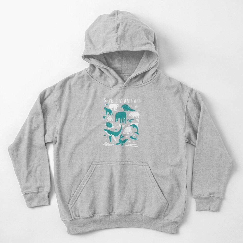 Save The Animals - Endangered Animals Kids Pullover Hoodie