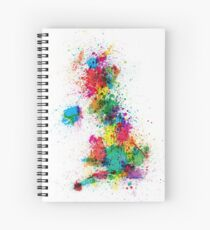 Great Britain UK Map Paint Splashes Spiral Notebook