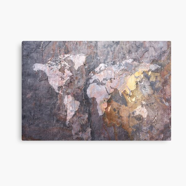 World Map on Stone Background Metal Print