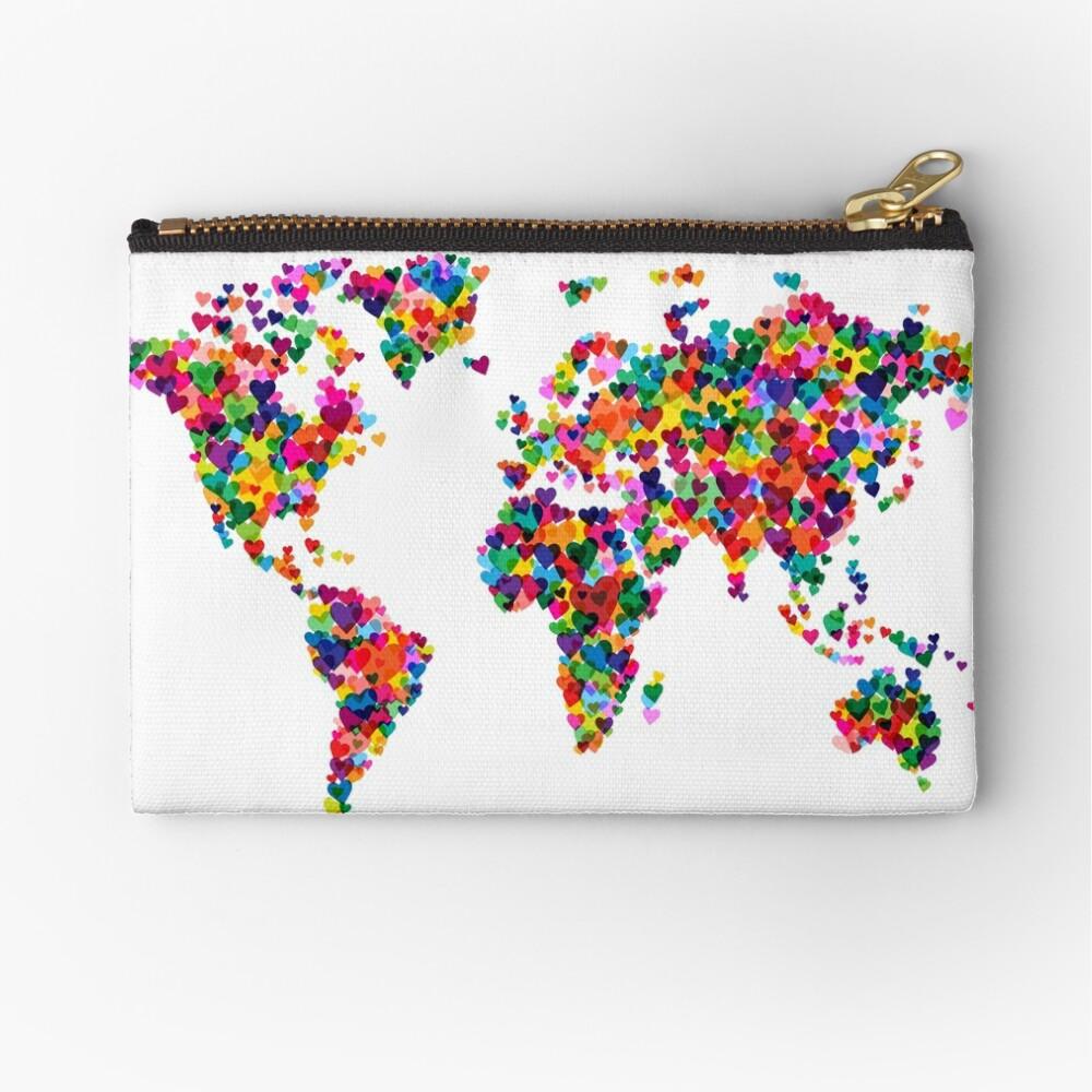 Liebes-Herz-Karte der Weltkarte Täschchen