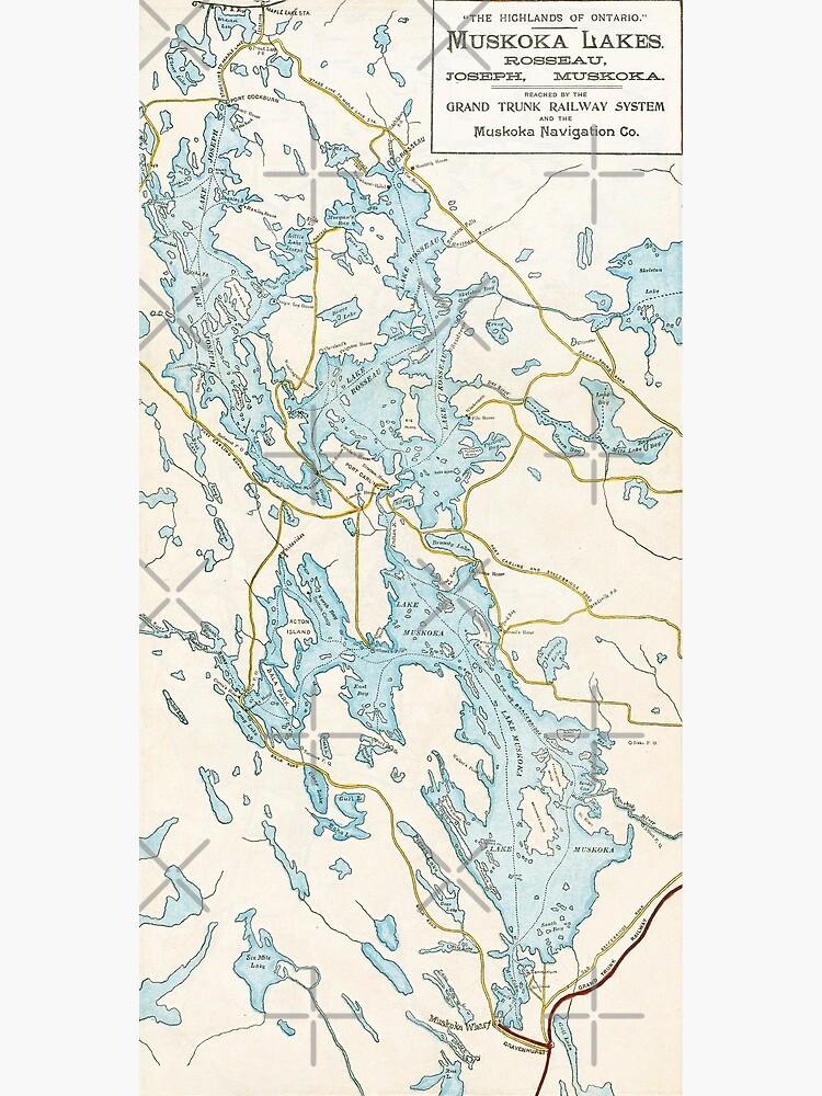 Vintage Muskoka Lakes Map by gin-nek-shop