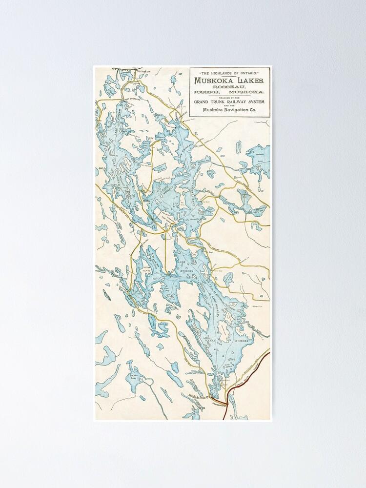 Alternate view of Vintage Muskoka Lakes Map Poster