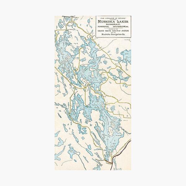 Vintage Muskoka Lakes Map Photographic Print