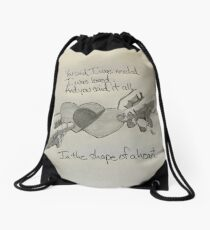 The Shape of a Heart Drawstring Bag