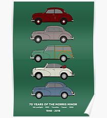 Morris Minor 70th Anniversary Classic Car Collection Artwork Poster