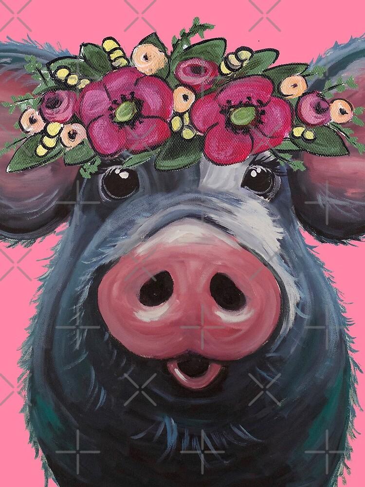 Cute Pig Art, Pig with Flower Crown Art,  LuLu pig art by leekellerart