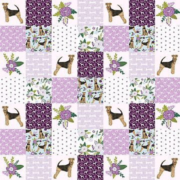Airdale Terrier Patchwork - florals, floral, dog, dogs, cute dog, airedales by PetFriendly