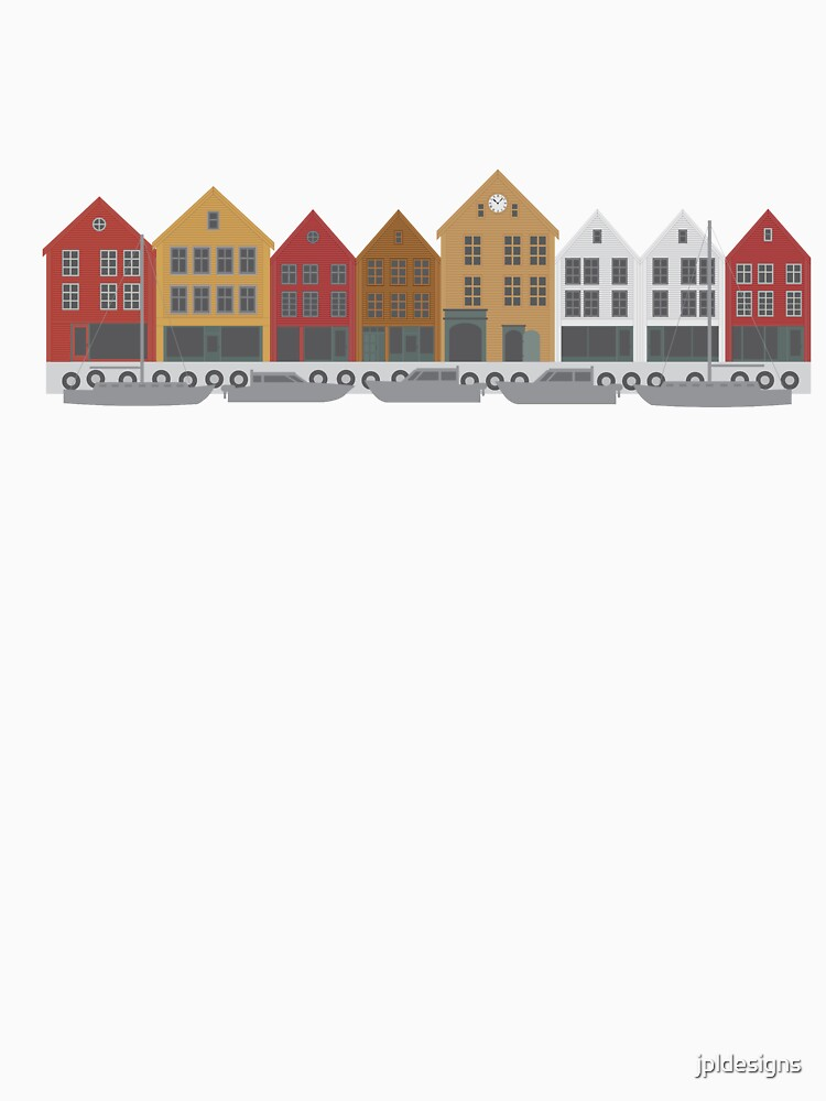 Bergen Norway downtown waterfront colorful buildings shopping district illustration by jpldesigns