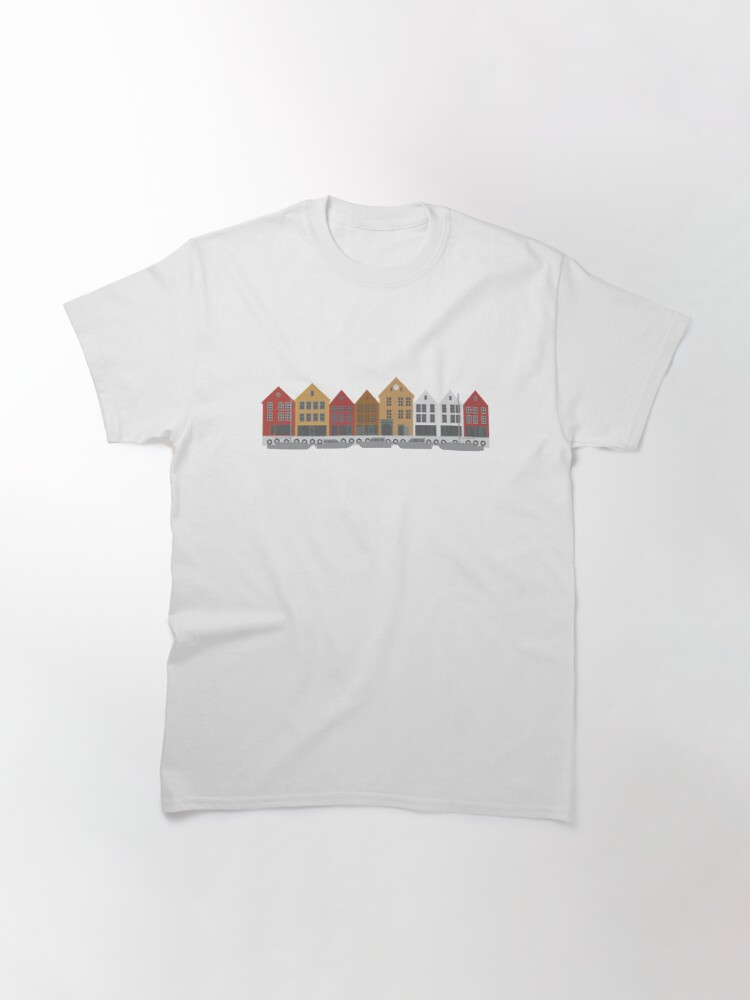 Alternate view of Bergen Norway downtown waterfront colorful buildings shopping district illustration Classic T-Shirt