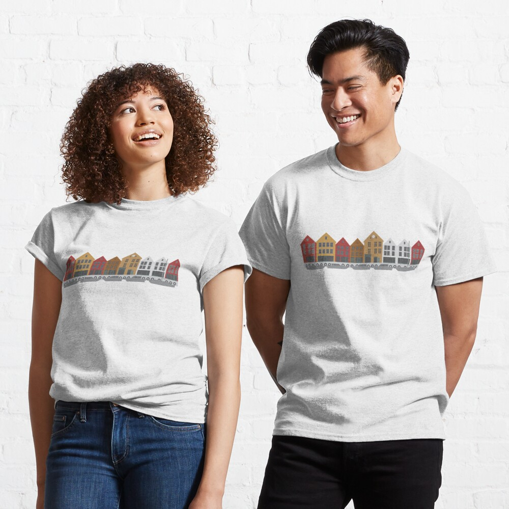 Bergen Norway downtown waterfront colorful buildings shopping district illustration Classic T-Shirt