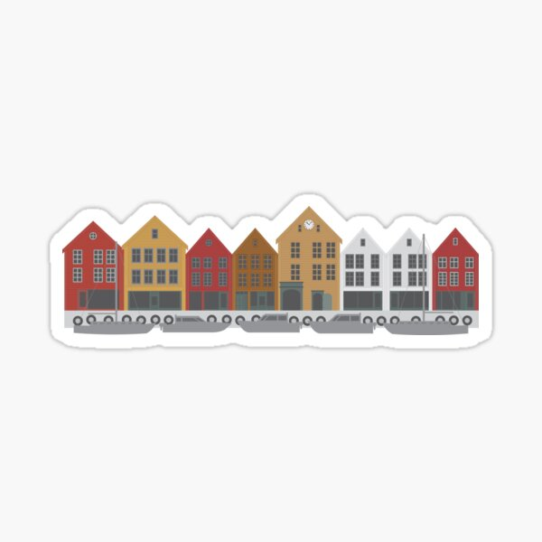 Bergen Norway downtown waterfront colorful buildings shopping district illustration Sticker