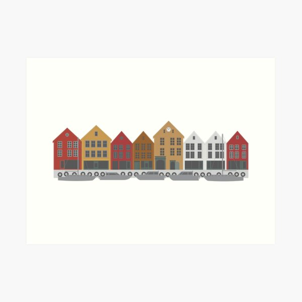 Bergen Norway downtown waterfront colorful buildings shopping district illustration Art Print