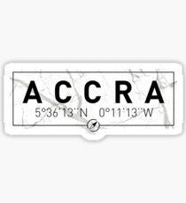 The longitude and latitude of Accra Sticker