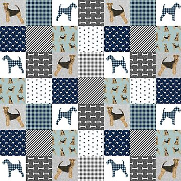 Airedale Terrier Buffalo Plaid patchwork - blue and grey, dog, dogs, cute dog, airedale terriers by PetFriendly