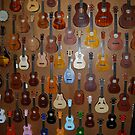 Wall of Mostly Ukulele's by Ronald Hannah