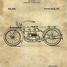 Antique Motorcycle blueprint patent drawing plan from 1919, Industrial farmhouse by Glimmersmith