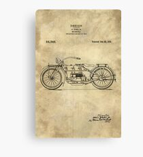 Antique Motorcycle blueprint patent drawing plan from 1919, Industrial farmhouse Canvas Print