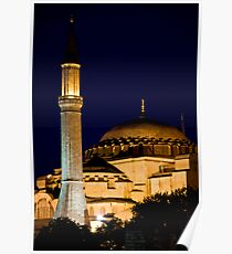 Lighted Minaret And Dome Poster