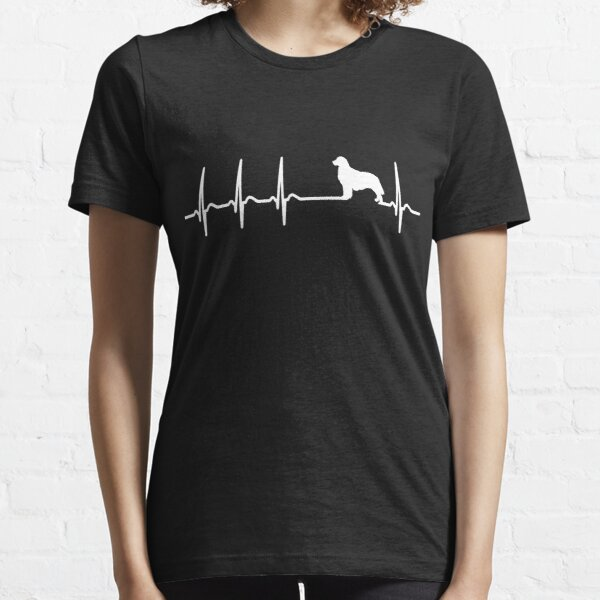 Golden Retriever Heartbeat T-Shirt - Cool Funny Nerdy Graphic Graphic Heartbeat Golden Retriever Breeder Humor Quote Sayings Shirt Gift Gift idea Essential T-Shirt