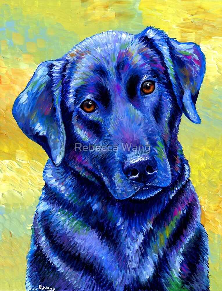 Colorful Black Labrador Retriever Dog Portrait by Rebecca Wang