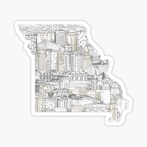 Kansas City Missouri Skyline Art Sticker