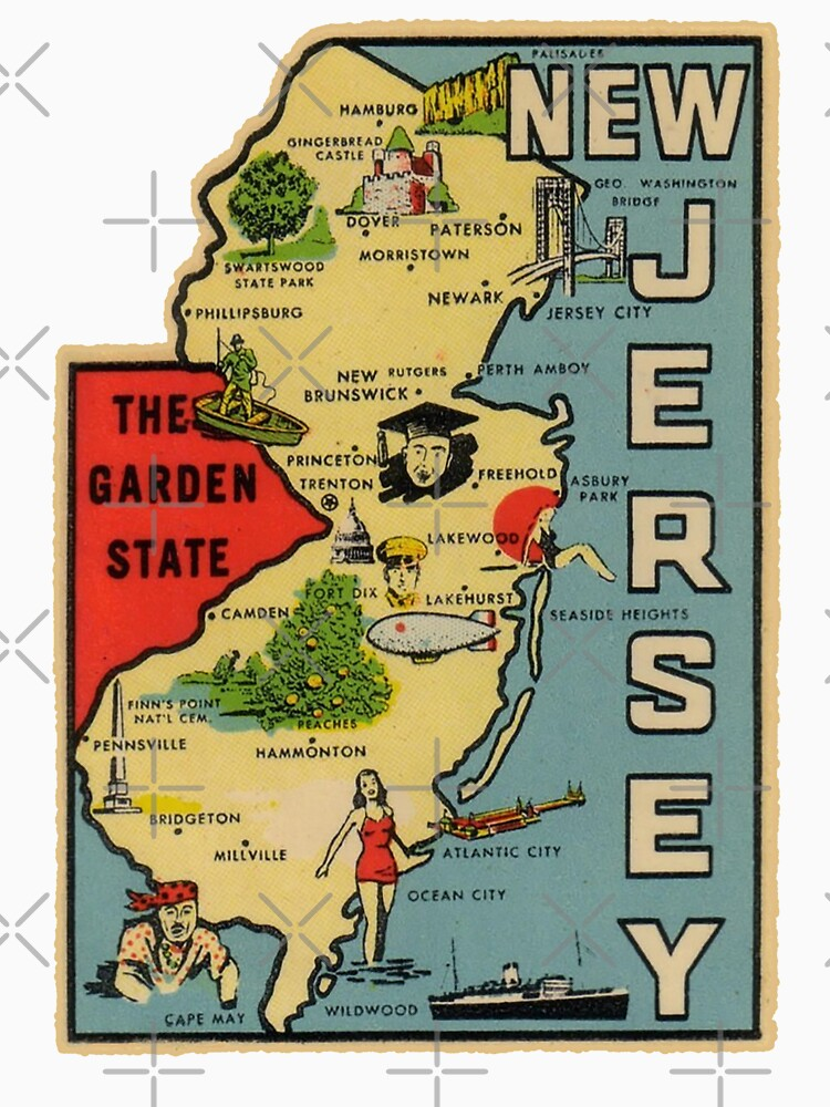 Asbury Park New Jersey Map.Vintage New Jersey Map Long T Shirt By Fearcity Redbubble