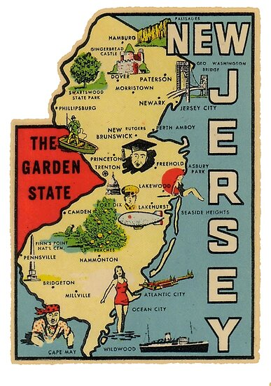 Vintage New Jersey Map\
