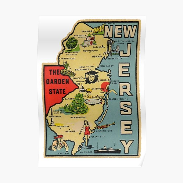 Vintage New Jersey Map Poster