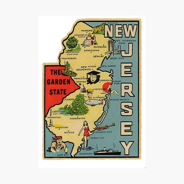 Vintage New Jersey Map Photographic Print