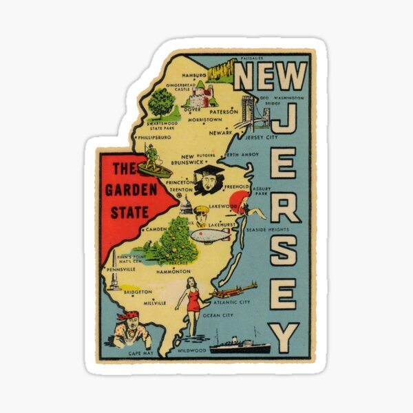 Vintage New Jersey Map Sticker
