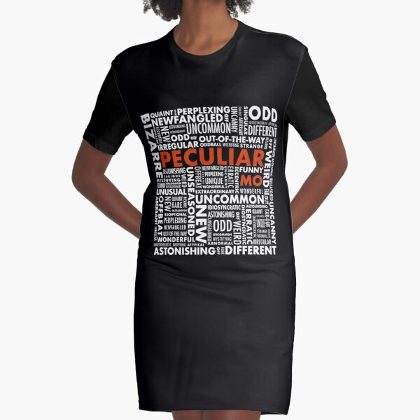 Peculiar Words Graphic T-Shirt Dress