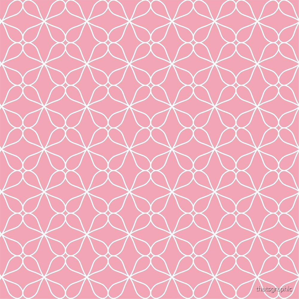Pretty Pink and White Geometric Daisy Design by thatsgraphic