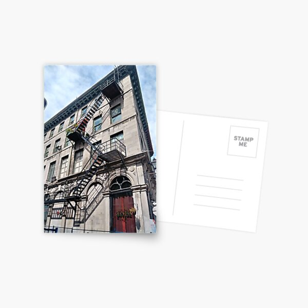 #FireEscape #pompier #PompierLadder #ScalingLadder Montreal #Montreal #City #MontrealCity #Canada #buildings #streets #places #views #building #architecture #windows #sculptures #door #entry Postcard